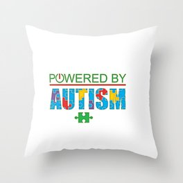 Powered By Autism - Autism Spectrum Disorder Colorful Puzzle Throw Pillow