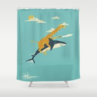 giraffe Shower Curtains featuring Onward! by Jay Fleck