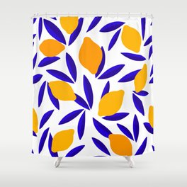 Blue and yellow Lemon Summery Pattern Shower Curtain