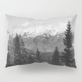 Snow Capped Sierras - Black and White Nature Photography Pillow Sham