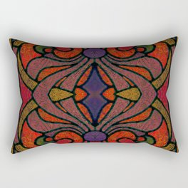 Art Nouveau Glowing Stained Glass Window Design Rectangular Pillow