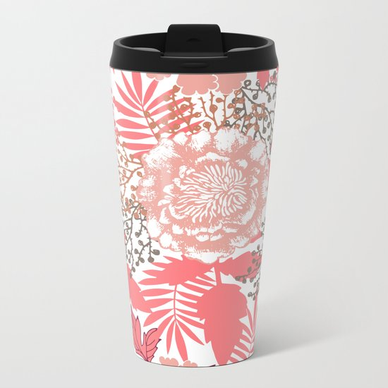 Pink peonies. Metal Travel Mug