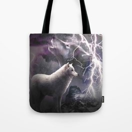 Lightning Wolf Howling At The Moon Tote Bag