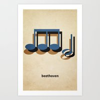 beethoven Art Prints featuring Beethoven by materndesign