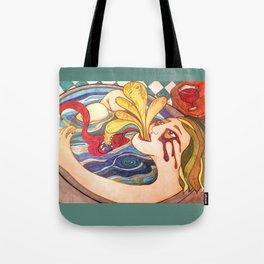A Girl in Bathroom Tote Bag