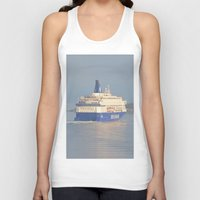 oslo Tank Tops featuring Copenhagen To Oslo Ferry by Malcolm Snook