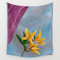victorian Wall Tapestries featuring Victorian Forsythia by DawnMerrow