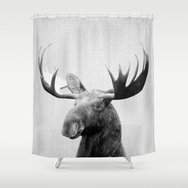 Moose - Black & White Shower Curtain