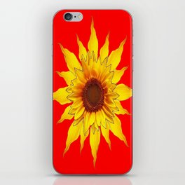 Decorative Yellow Sunflower On Chinese red Art iPhone Skin