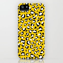 Animal Print, Spotted Leopard - Yellow Black iPhone Case