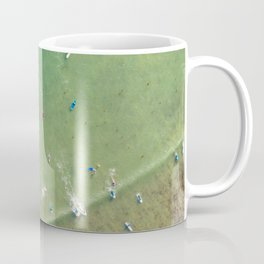 Drone Shot of Surfers from above Coffee Mug