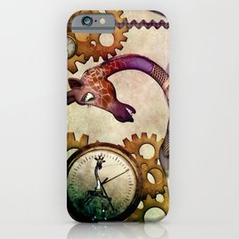 Funny giraffe, steampunk with clocks and gears iPhone Case