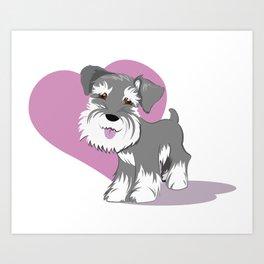 Miniature Schnauzer Puppy Dog Adorable Baby Love Art Print