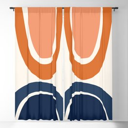 Abstract Shapes 7 in Burnt Orange and Navy Blue Blackout Curtain