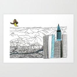 Illustration_ On the road_ Jack Kerouak Art Print