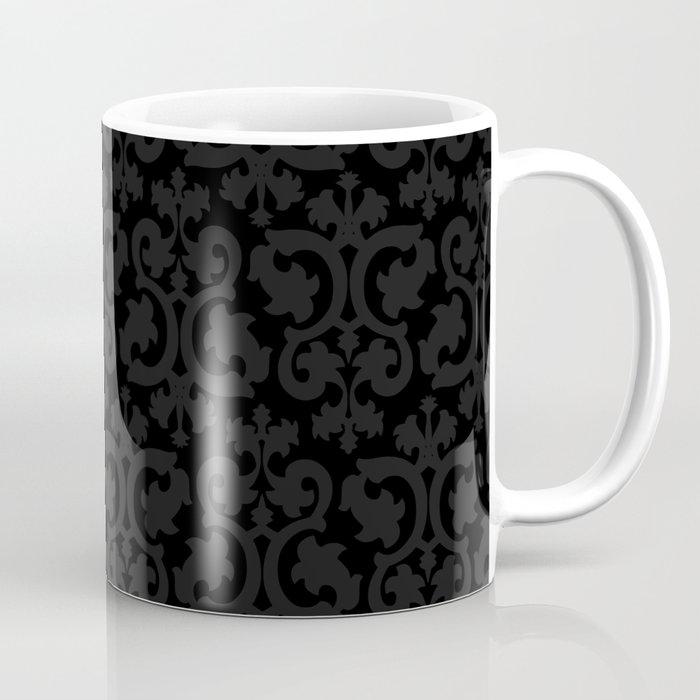 Black and Dark Grey Damask Pattern Coffee Mug