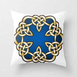 Royal Blue Mandala Knot Throw Pillow