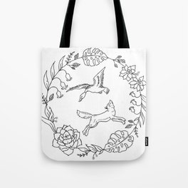 Fox and Loon Playing in Floral Wreath Design — Floral Wreath with Animals Illustration Tote Bag