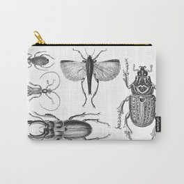Vintage Beetle black and white drawing Carry-All Pouch