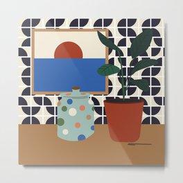 Patterned Wall w Plants Metal Print
