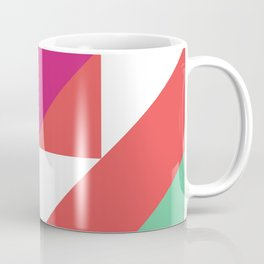 Hot Pink, Neon Grapefruit and Neon Turquoise Color Block Coffee Mug