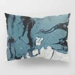 Fortune: A bold, minimal, abstract mixed-media piece in blue and black Pillow Sham