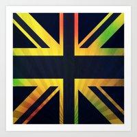 british flag Art Prints featuring RASTA BRITISH FLAG by shannon's art space