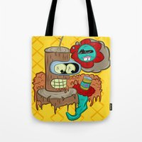 bender Tote Bags featuring Wooden Bender by TheArtistKAFA
