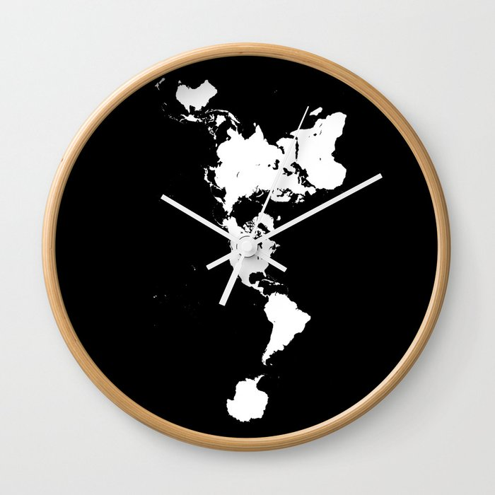 Dymaxion world map fuller projection map minimalist white on dymaxion world map fuller projection map minimalist white on black wall clock gumiabroncs Images