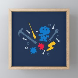 Young Engineer - Blue, Red and Yellow Framed Mini Art Print