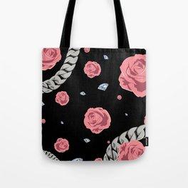 """Rose """" Pink  Black """" Tote Bag"""