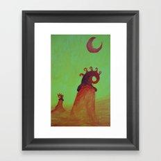 Plants and Moon Framed Art Print