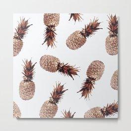 Floating Pineapples - Rose Gold Metal Print