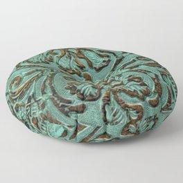 Aqua Flowers Tooled Leather Floor Pillow