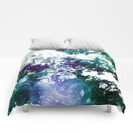 Watercolor Floral Teal Purple Green Comforters