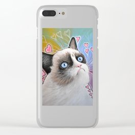 Sad Cat, This is my Happy Face, Tardar Sauce Clear iPhone Case