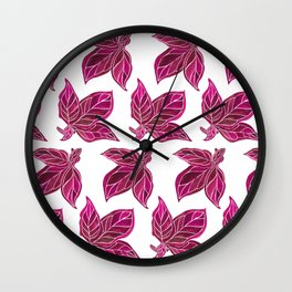 Color Pop Leaves Wall Clock