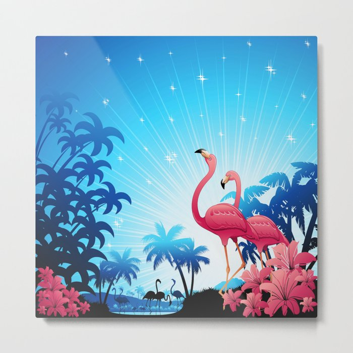 Pink Flamingos on Blue Tropical Landscape Metal Print