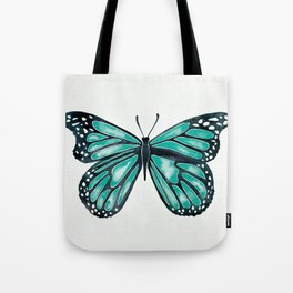 Turquoise Butterfly Tote Bag
