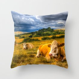 Resting Cows Throw Pillow