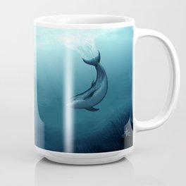 """Siren of the Blue Lagoon"" by Amber Marine ~ Dolphin Art, Digital Painting, (Copyright 2015) Coffee Mug"