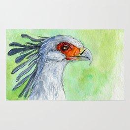 Watercolor secretary bird Rug