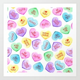 Valentines Candy Hearts Art Print