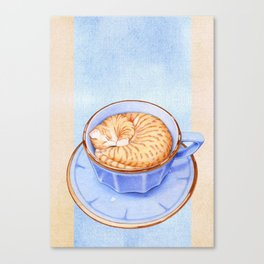 Cat in Coffee Canvas Print