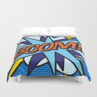 comic book Duvet Covers featuring Comic Book BOOM! by The Image Zone