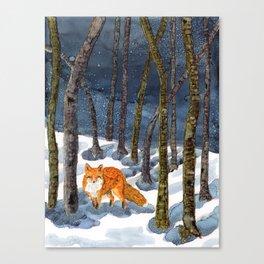 Winter Fox - Alcohol Ink Canvas Print