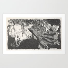 Arthur Rackham - Dickens' Christmas Carol (1915): The Spirit Among the Graves Art Print