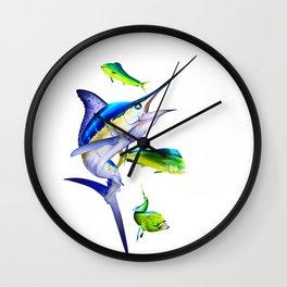 White Marlin Chasing Dolphin Fish Wall Clock