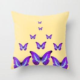 AMETHYST PURPLE BUTTERFLIES FLOCK CREAMY YELLOW Throw Pillow