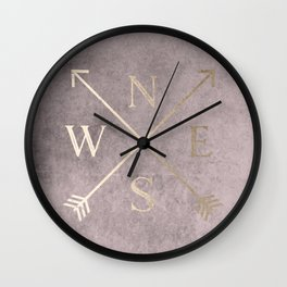 Gold on Pink Blush Distressed Compass Adventure Design Wall Clock